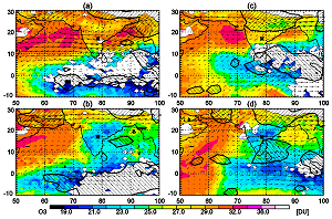 Tropospheric O3 integrated columns (surface-225 hPa) determined with the IASI-SOFRID software developed at the Laboratoire d'Aérologie in Toulouse for (a) 10-11-12 Nov. 2008, (b) 16-17-18 Nov. 2008, after the crossing of Khai-Muk storm, (c) 24-25-26 Nov. 2008, (d) 28-29-30 Nov. 2008, after the crossing of Nisha storm.