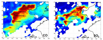 Space distributions of CO and SO2 measured by IASI/MetOp sounder on January 12, 2013 over China. From blue to red, the colors indicate the pollutant concentrations from low to high. The white areas correspond to clouds or no data. © Anne Boynard (LATMOS-IPSL, CNRS / UPMC / UVSQ)